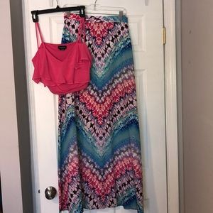 Bebe Crop Top and Skirt